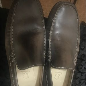 Men's Ecco casual slip on leather brown sz 44/10